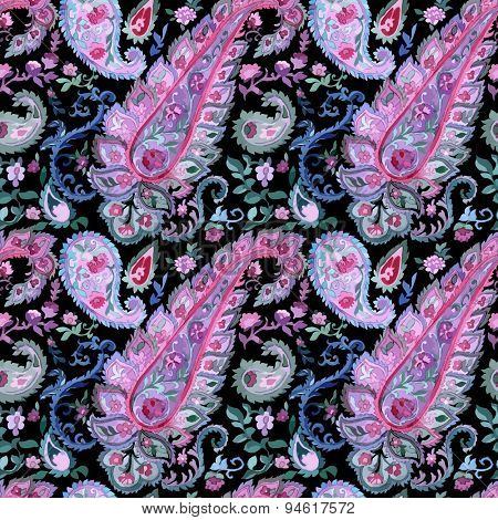 Watercolor paisley seamless background. Cold colors. Indian, persian or turkish art. Beautiful Vector handdrawn pattern.