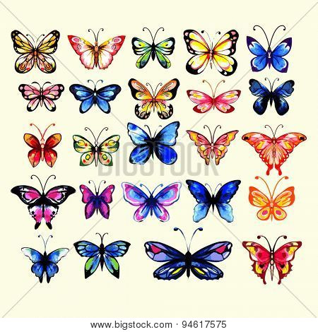 Watercolor butterflies set. Handdrawn. Isolated.  Cold and warm colors.