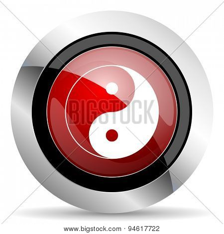 ying yang red glossy web icon original modern design for web and mobile app on white background