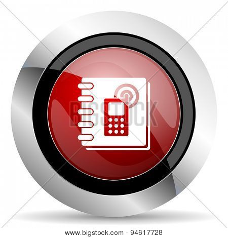 phonebook red glossy web icon original modern design for web and mobile app on white background