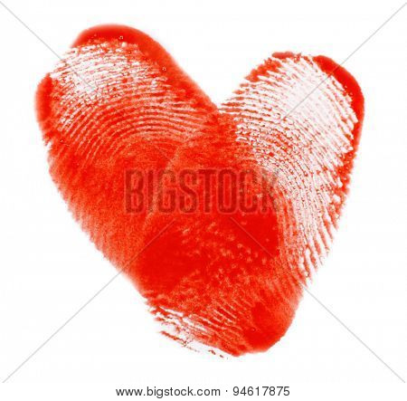 Heart of fingerprints on white paper background