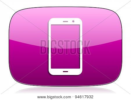 smartphone violet icon phone sign original modern design for web and mobile app on white background with reflection