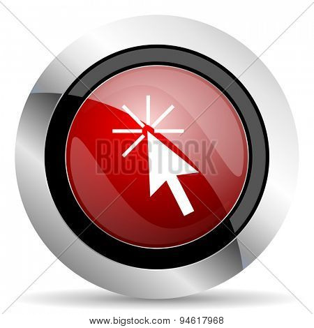 click here red glossy web icon original modern design for web and mobile app on white background