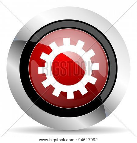 gear red glossy web icon original modern design for web and mobile app on white background