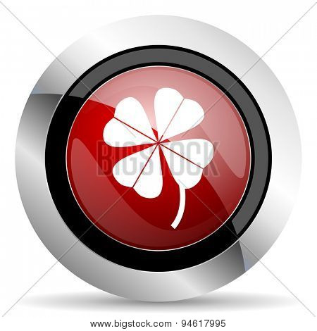 four-leaf clover red glossy web icon original modern design for web and mobile app on white background