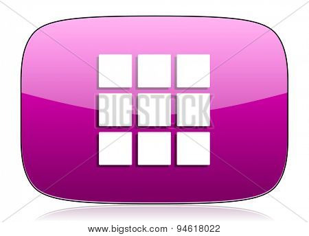 thumbnails grid violet icon gallery sign original modern design for web and mobile app on white background with reflection