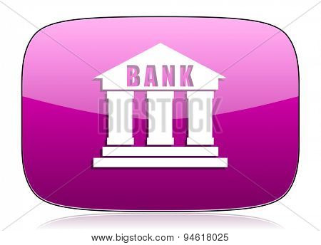 bank violet icon  original modern design for web and mobile app on white background with reflection