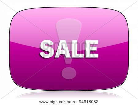 sale violet icon  original modern design for web and mobile app on white background with reflection