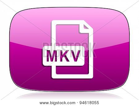 mkv file violet icon  original modern design for web and mobile app on white background with reflection