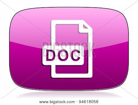doc file violet icon  original modern design for web and mobile app on white background with reflection