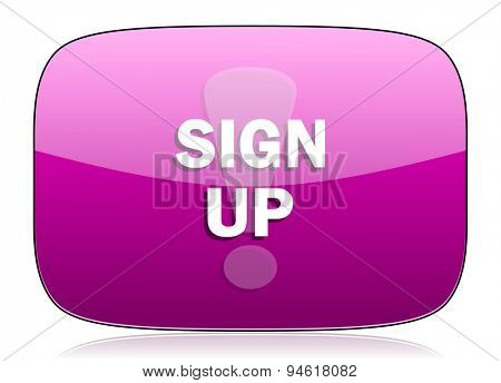 sign up violet icon  original modern design for web and mobile app on white background with reflection