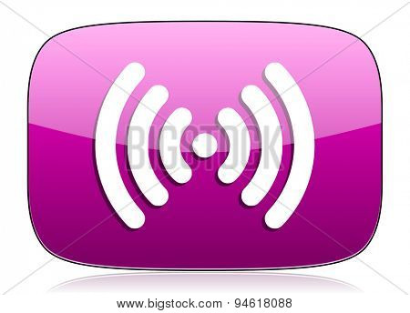 wifi violet icon wireless network sign original modern design for web and mobile app on white background with reflection