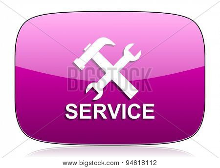 service violet icon  original modern design for web and mobile app on white background with reflection
