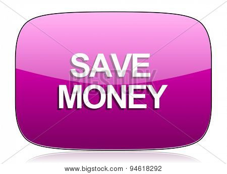 save money violet icon  original modern design for web and mobile app on white background with reflection