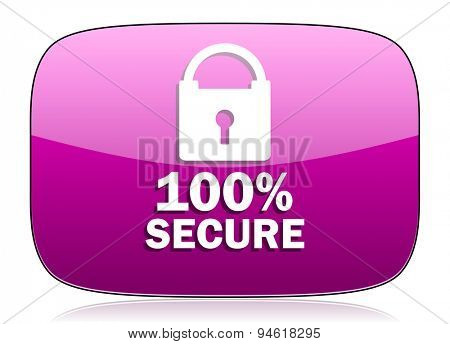 secure violet icon  original modern design for web and mobile app on white background with reflection