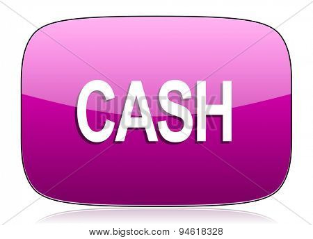 cash violet icon  original modern design for web and mobile app on white background with reflection