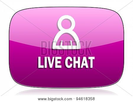 live chat violet icon  original modern design for web and mobile app on white background with reflection