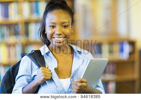 portrait of happy female african american college student