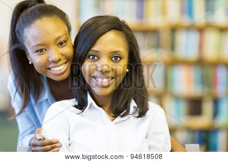 portrait of beautiful young afro american college students