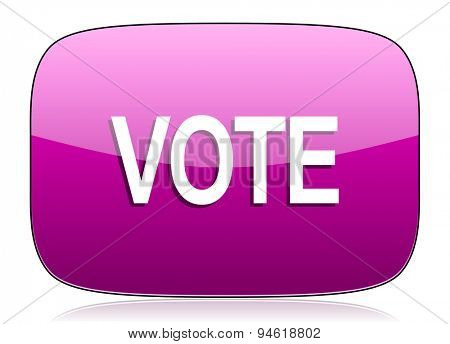 vote violet icon  original modern design for web and mobile app on white background with reflection