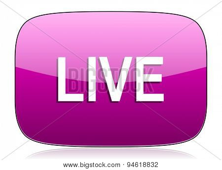 live violet icon  original modern design for web and mobile app on white background with reflection