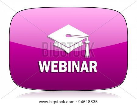webinar violet icon  original modern design for web and mobile app on white background with reflection