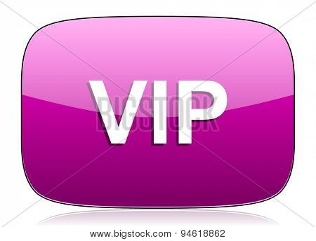 vip violet icon  original modern design for web and mobile app on white background with reflection
