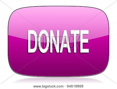 donate violet icon  original modern design for web and mobile app on white background with reflection