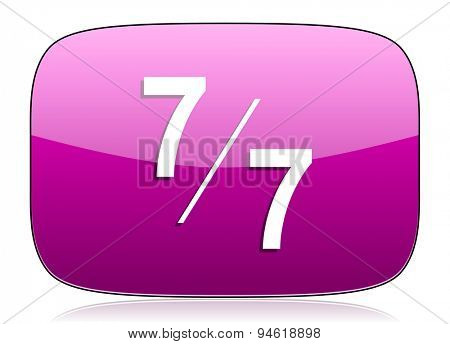 7 per 7 violet icon  original modern design for web and mobile app on white background with reflection