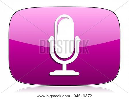 microphone violet icon podcast sign original modern design for web and mobile app on white background with reflection