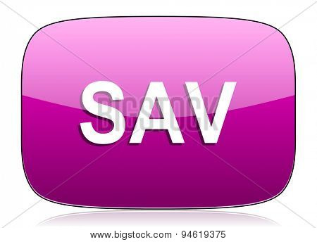 sav violet icon  original modern design for web and mobile app on white background with reflection