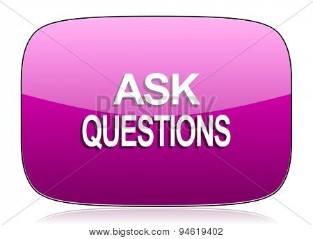 ask questions violet icon  original modern design for web and mobile app on white background with reflection