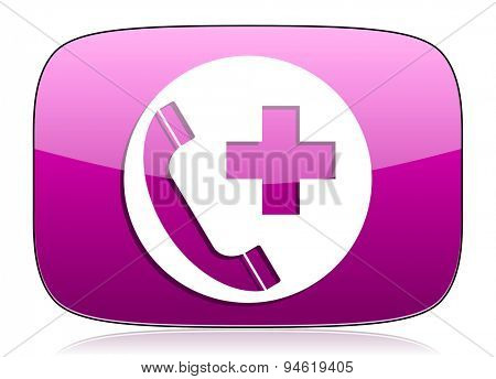 emergency call violet icon  original modern design for web and mobile app on white background with reflection