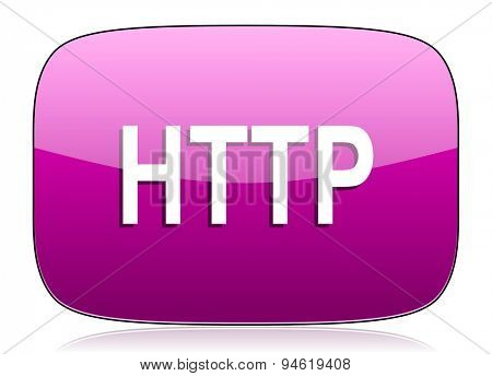 http violet icon  original modern design for web and mobile app on white background with reflection