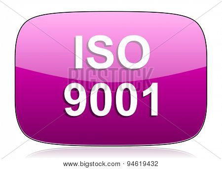 iso 9001 violet icon  original modern design for web and mobile app on white background with reflection