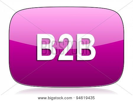 b2b violet icon  original modern design for web and mobile app on white background with reflection