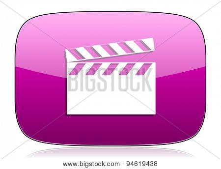 video violet icon cinema sign original modern design for web and mobile app on white background with reflection
