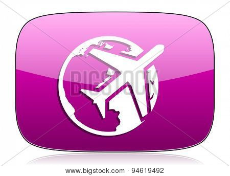 travel violet icon  original modern design for web and mobile app on white background with reflection