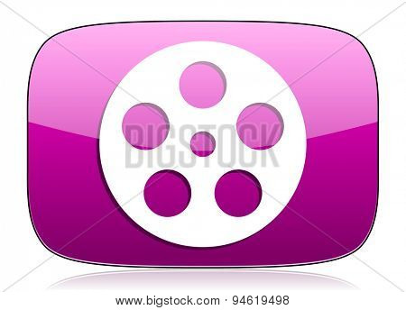 film violet icon  original modern design for web and mobile app on white background with reflection