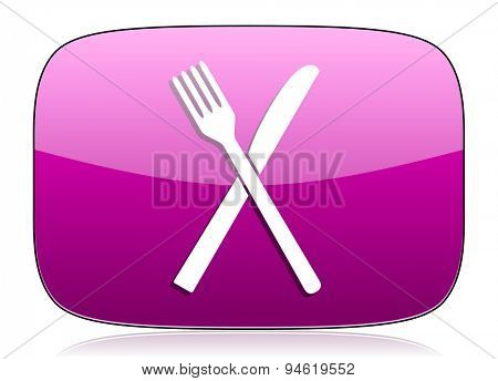 eat violet icon restaurant symbol  original modern design for web and mobile app on white background with reflection