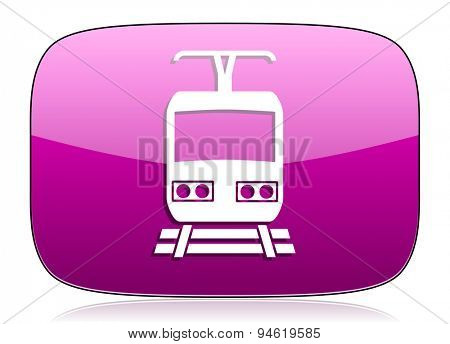 train violet icon public transport sign original modern design for web and mobile app on white background with reflection