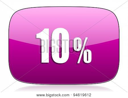 10 percent violet icon sale sign original modern design for web and mobile app on white background with reflection