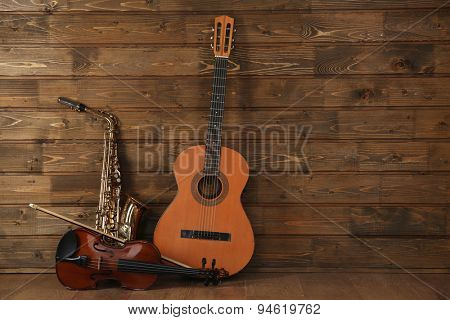 Cello on wooden planks background