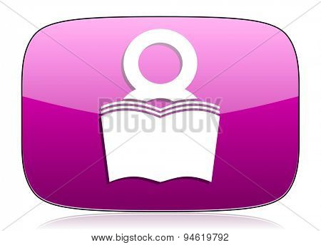 book violet icon reading room sign bookshop symbol original modern design for web and mobile app on white background with reflection