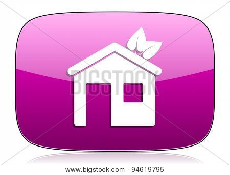 house violet icon ecological home symbol original modern design for web and mobile app on white background with reflection