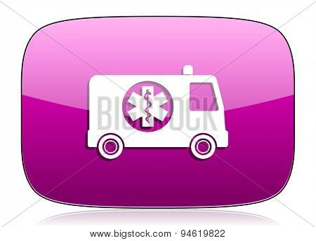 ambulance violet icon  original modern design for web and mobile app on white background with reflection