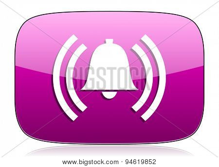 alarm violet icon alert sign bell symbol original modern design for web and mobile app on white background with reflection