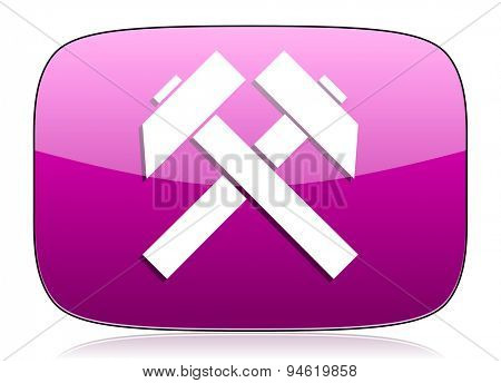 mining violet icon  original modern design for web and mobile app on white background with reflection