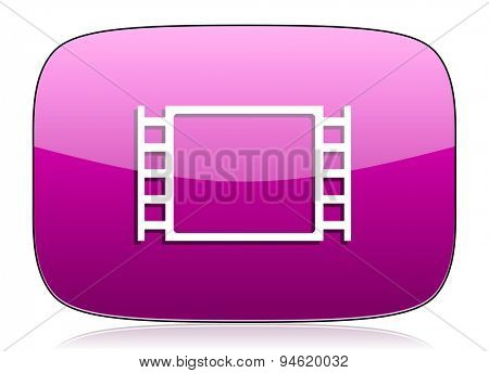 movie violet icon  original modern design for web and mobile app on white background with reflection