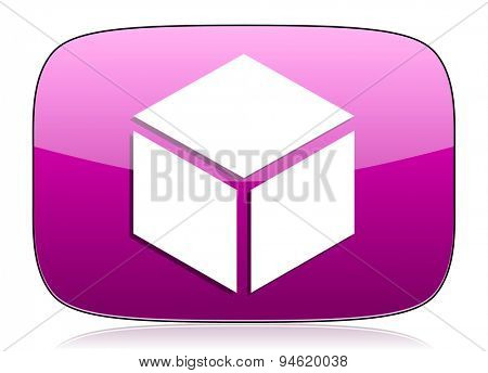 box violet icon  original modern design for web and mobile app on white background with reflection